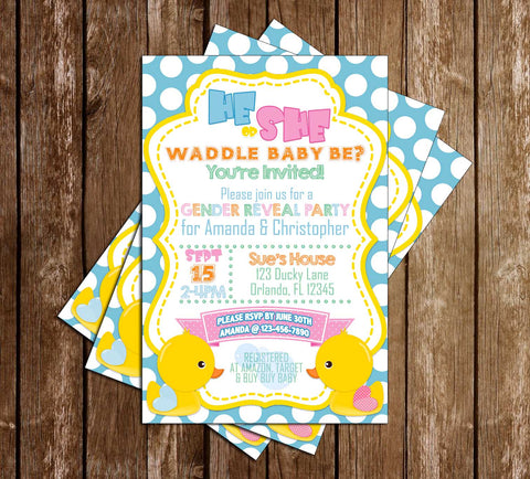 Duck Gender Reveal - Waddle Baby Be? - Baby Shower - Invitation
