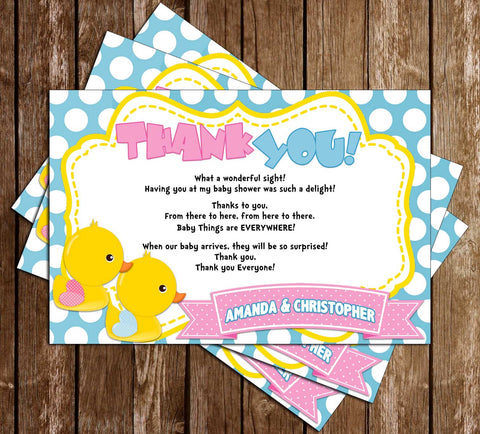 Duck Gender Reveal - Waddle Baby Be? - Baby Shower - Thank You Card