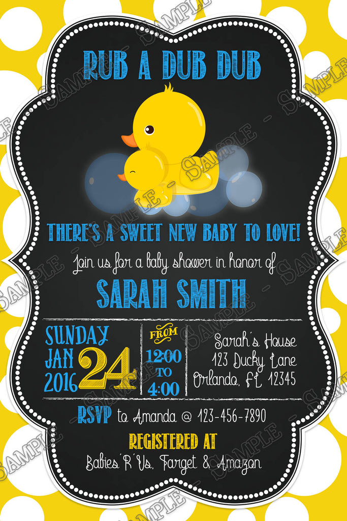 Novel Concept Designs - Rub-a-Dub-Dub Rubber Duck Baby Shower Invitation