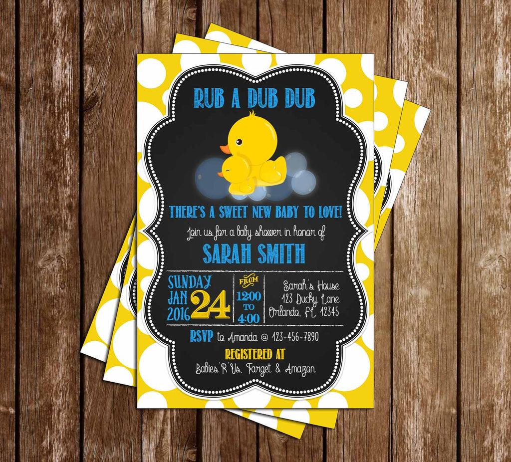 Rubber Duck and Baby Duck Baby Shower Invitation