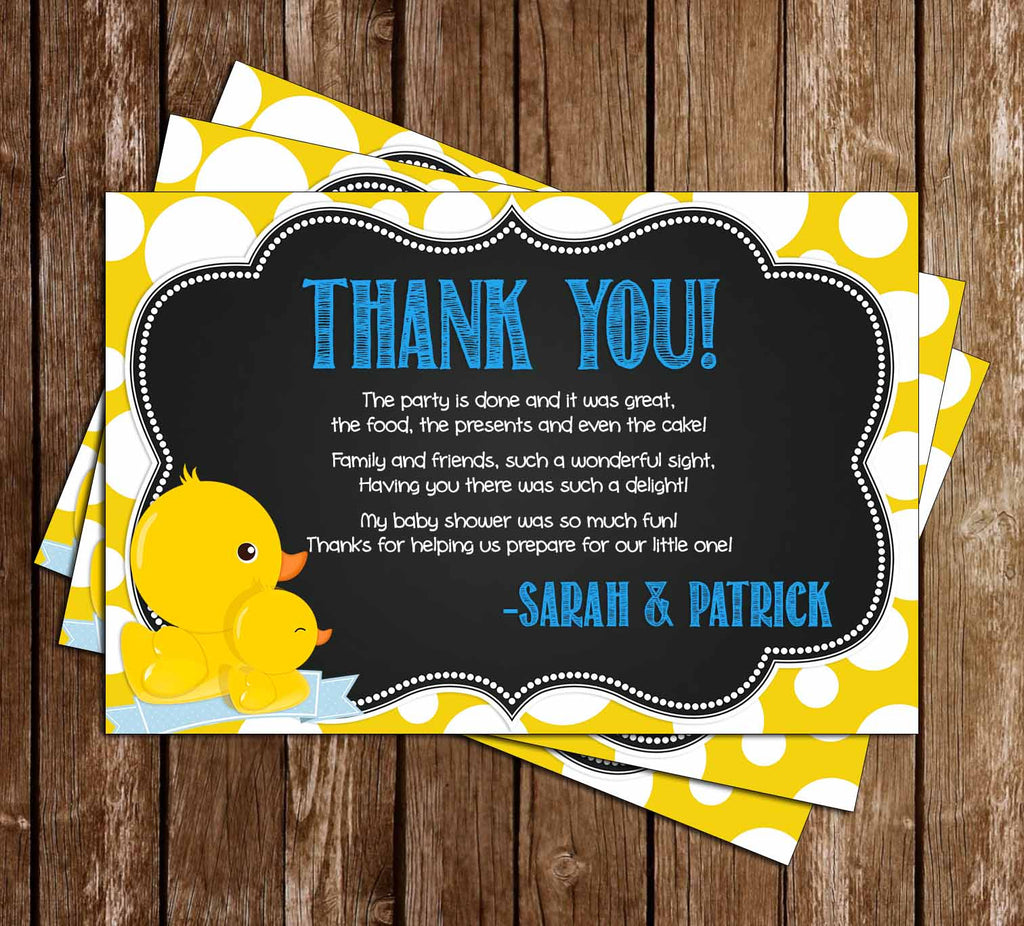 Rub-a-Dub-Dub Rubber Duck Baby Shower Thank You Card