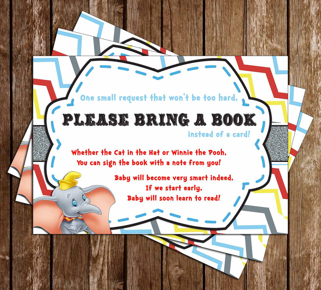 Dumbo the Flying Elephant - Gender Neutral - Baby Shower - Bring a Book Insert