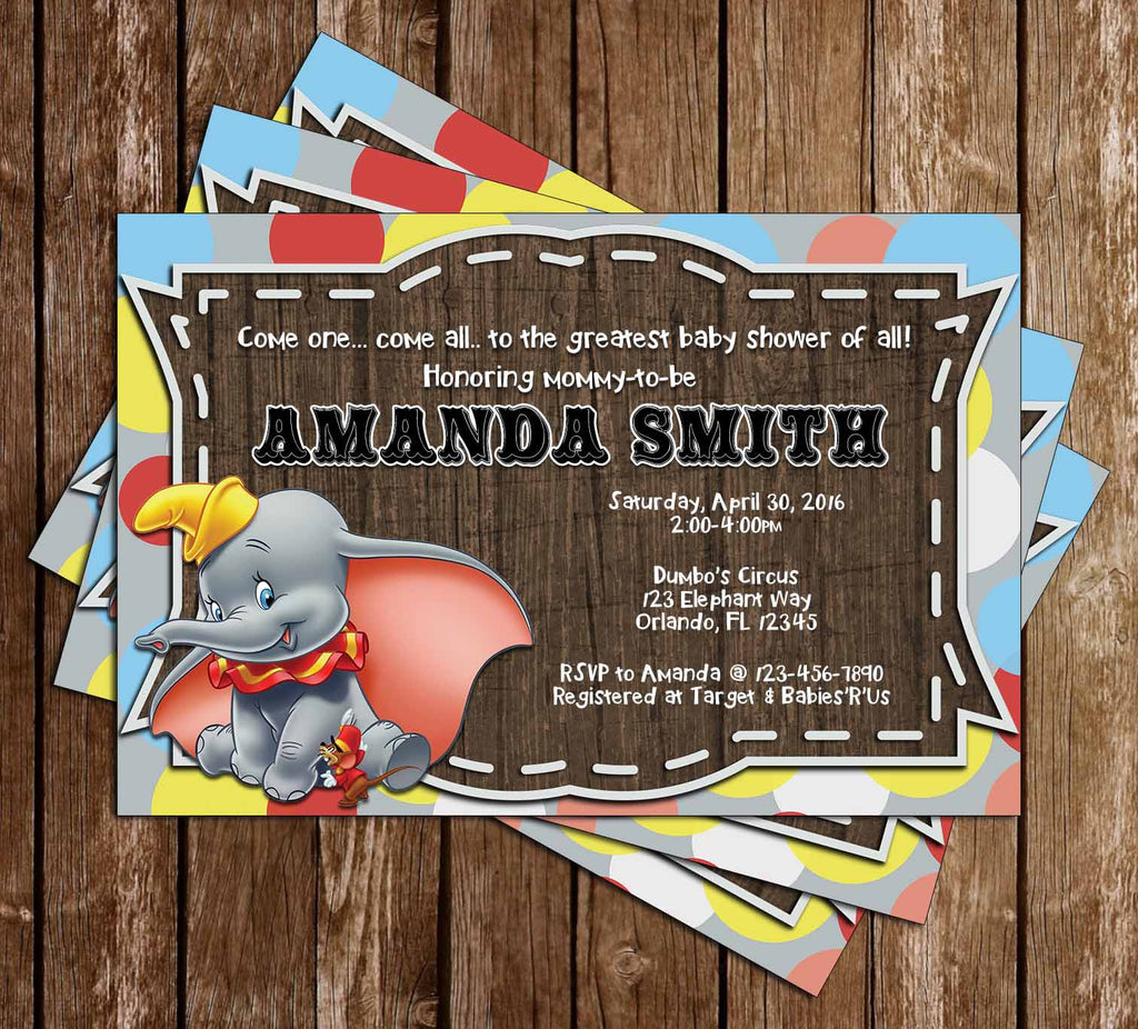Dumbo the Flying Elephant - Gender Neutral - Baby Shower Invitation