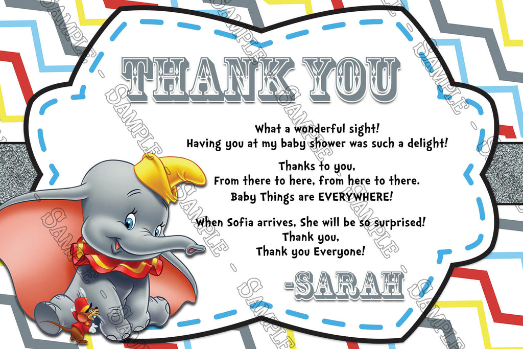 Dumbo The Flying Elephant   Gender Neutral   Baby Shower Thank You Card