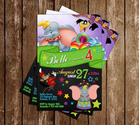 Dumbo - Flying Elephant - Birthday Party - Invitation