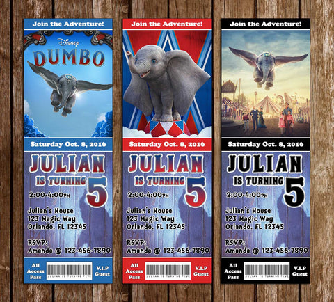 Dumbo - Movie - Birthday Party - Ticket - Invitation
