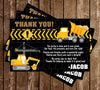 Construction - Dump Truck - Birthday Party - Thank You Card