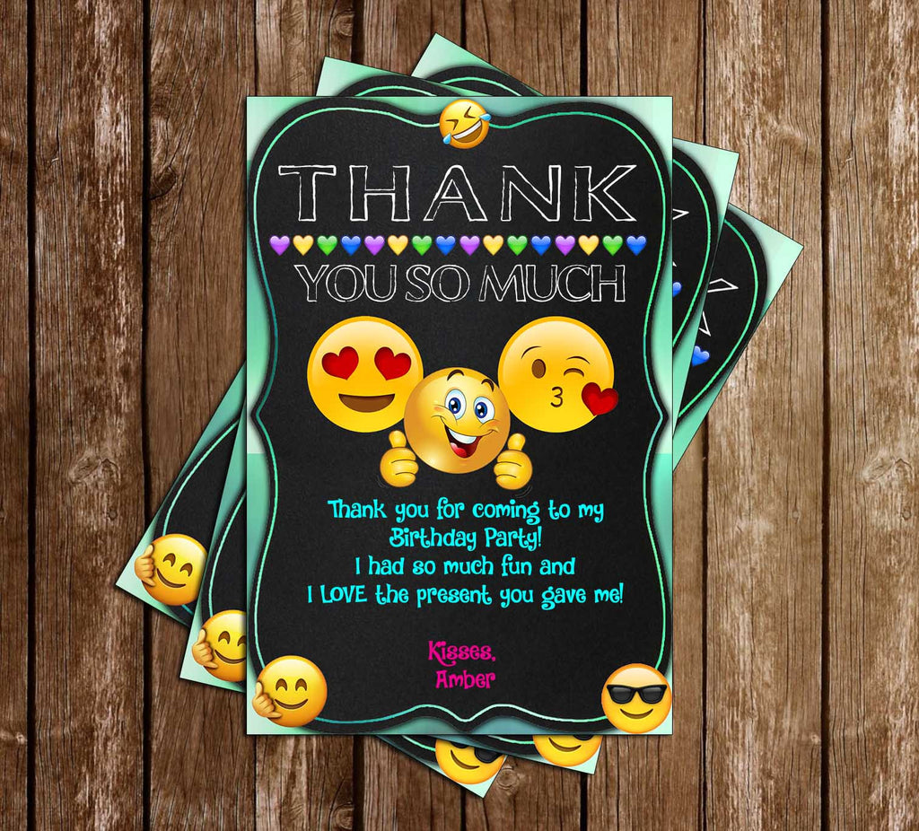 Emoji - Chalk - Birthday Party - Thank You Card