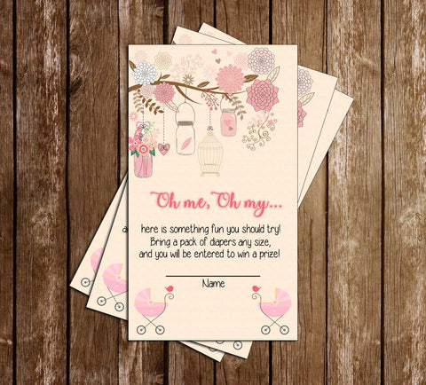 Pink & Grey - Elegant - Floral - Baby Shower - Diaper Raffle Ticket