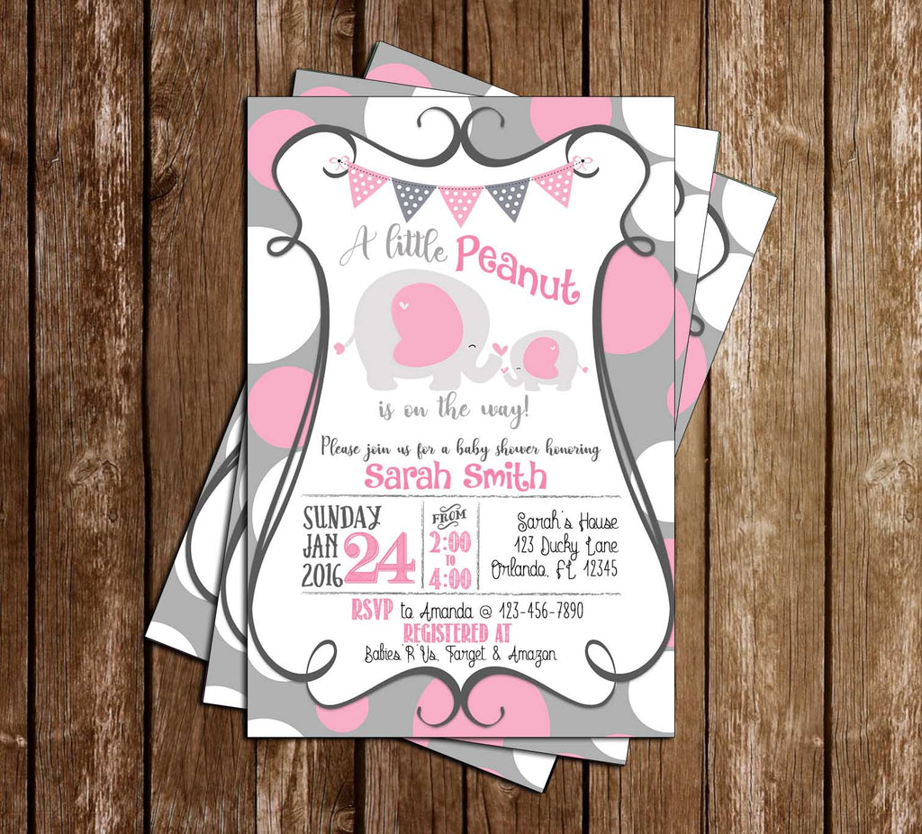 Baby Elephant & Mother - Baby Shower - Invitation