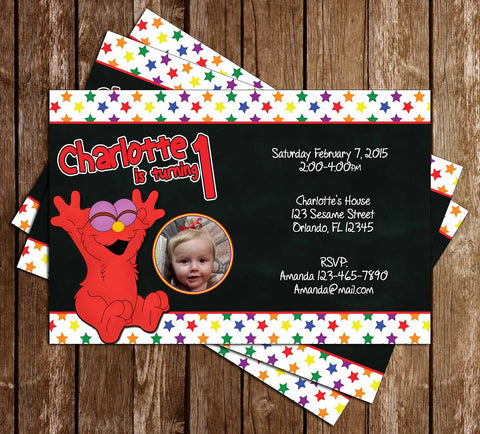 Baby Elmo 1st Birthday Party Invitation - PRINTED INVITATIONS