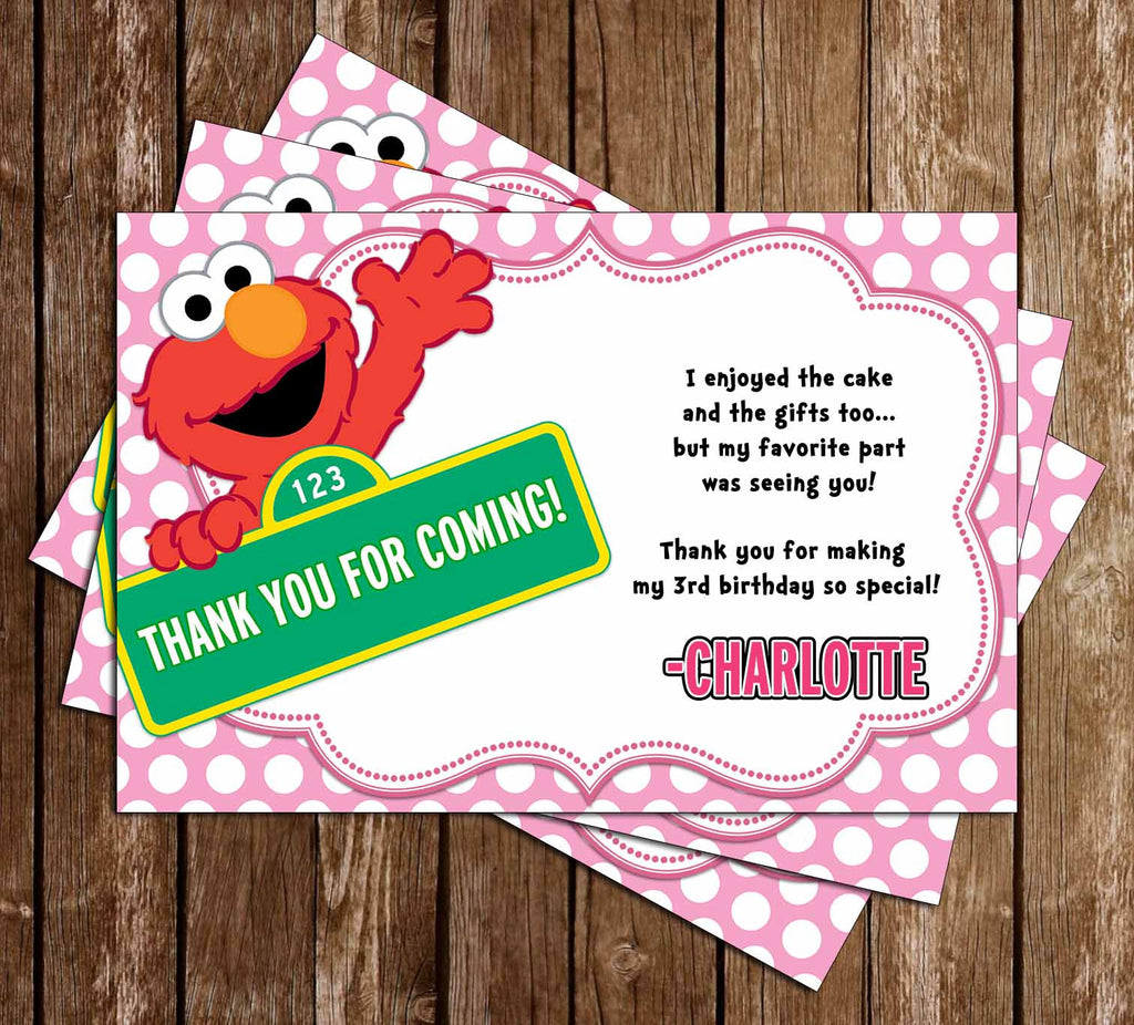 Elmo - Little Girl - Birthday - Thank You Card