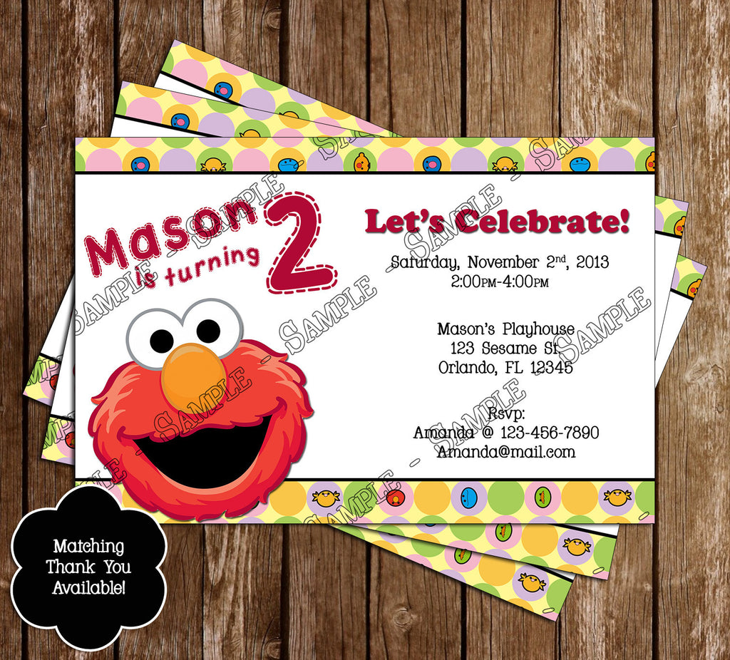 Novel Concept Designs - Elmo Birthday Party Ticket Invitation