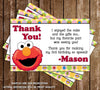 Sesame Street Elmo Show Birthday Party Thank You Card