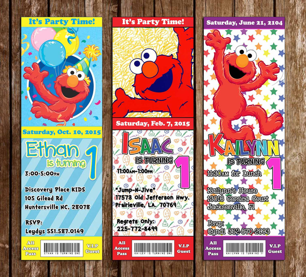 Elmo Birthday Party Ticket Invitation