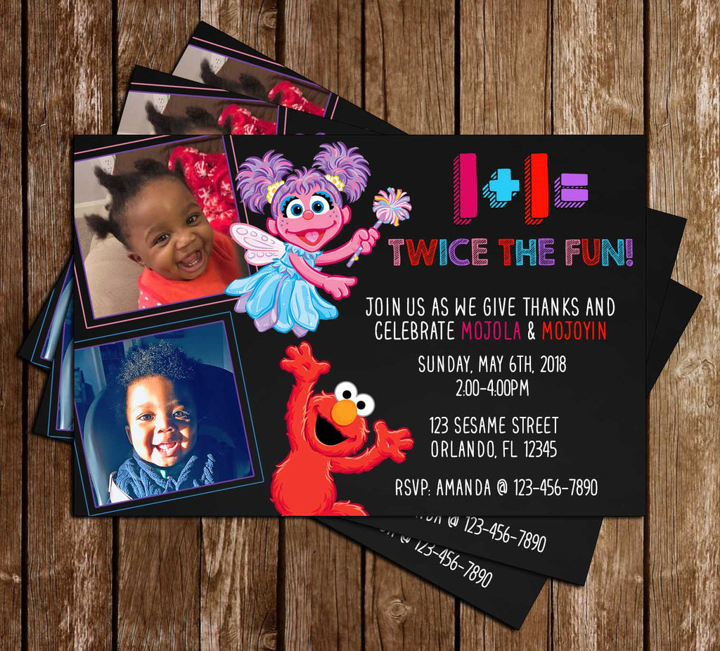 Elmo & Abby - 1+1= Fun  - Birthday Party - Invitation