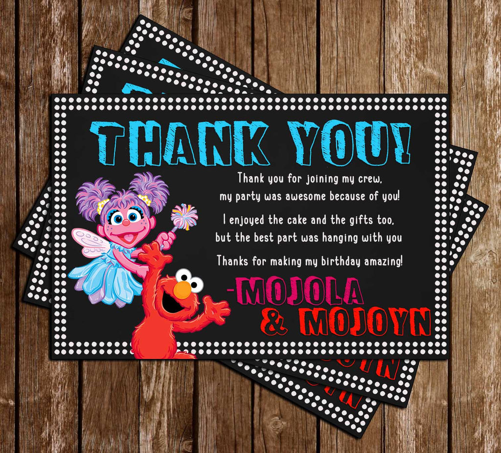 Elmo & Abby - Sesame Street  - Birthday Party - Thank You Card