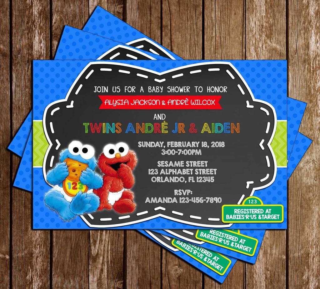 Novel Concept Designs - Elmo & Cookie Monster - Baby Shower - Invitation