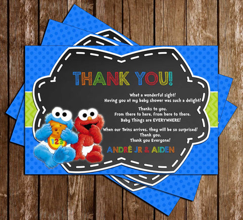 Cookie Monster & Elmo - Baby Shower - Thank You Card