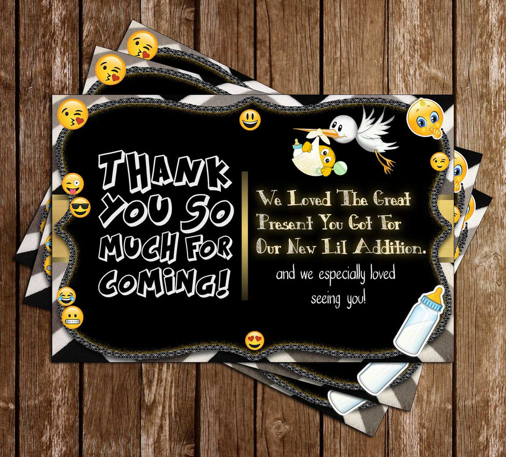 Emoji - OMG Baby - Baby Shower - Party - Thank You Card