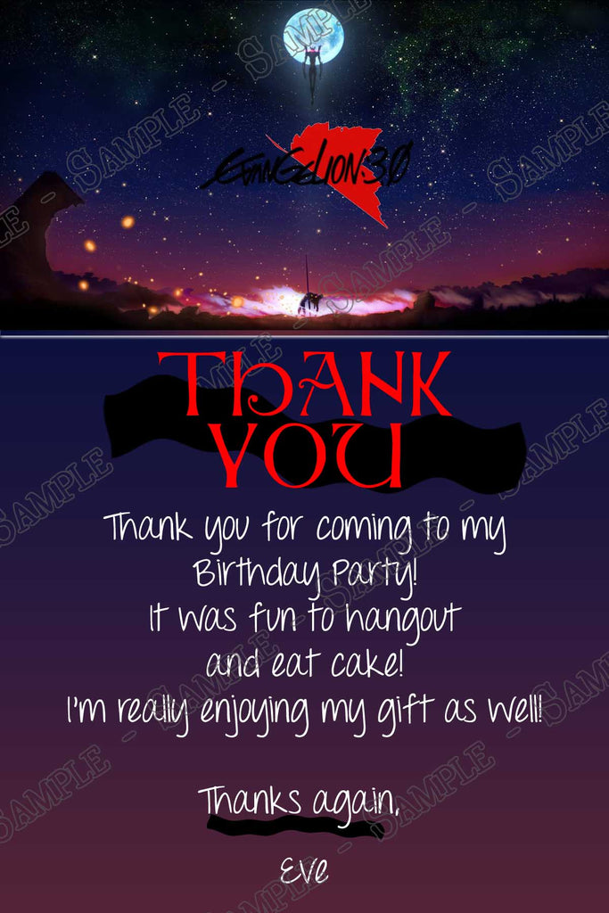 Novel concept designs evangelion 3010 anime birthday evangelion 3010 anime birthday party thank you card sciox Image collections