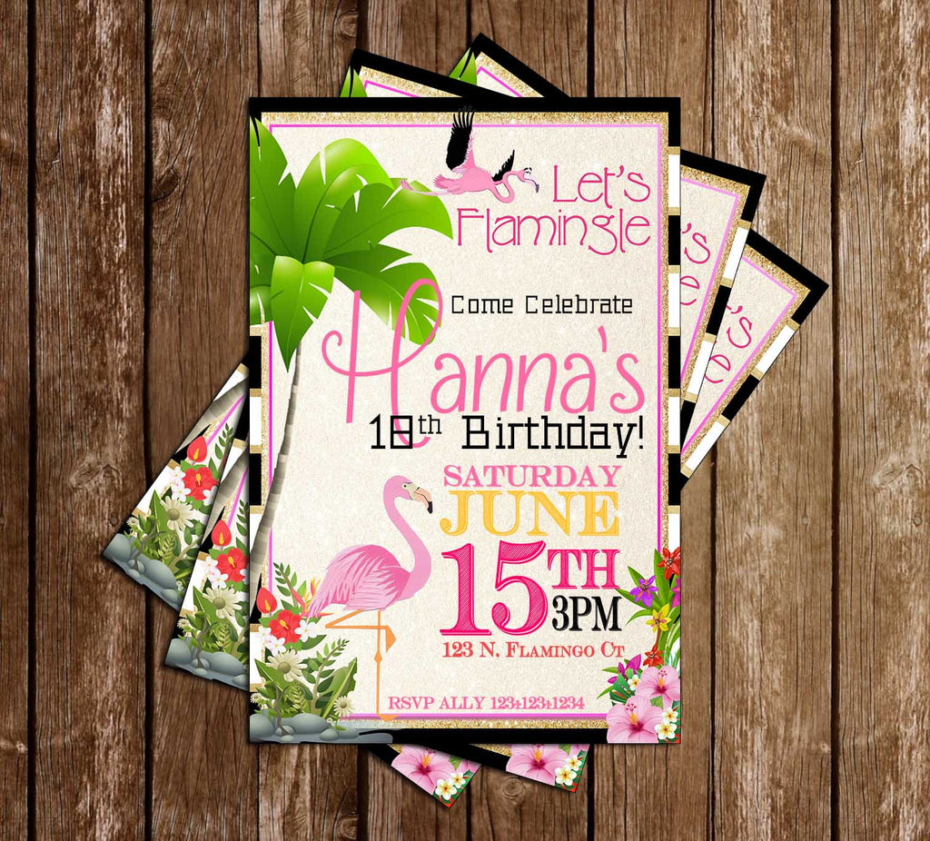 Let's Flamingle - Flamingo - Birthday Party - Invitation
