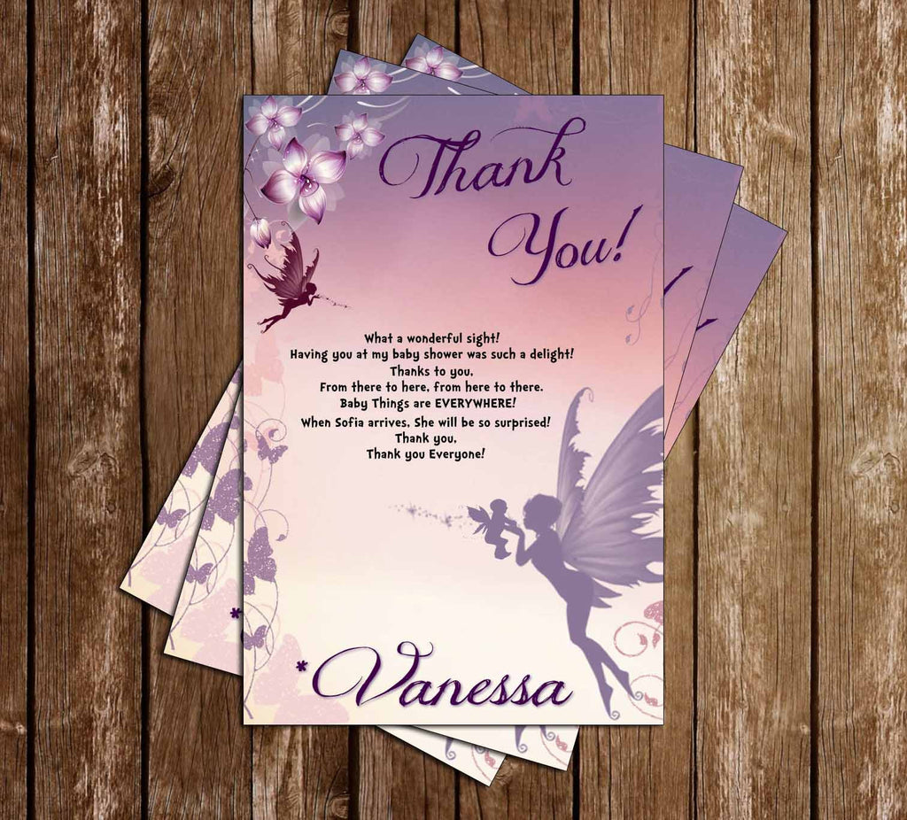 Fairies - Fantasy - Baby Shower - Thank You Card