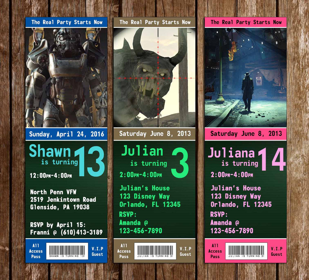 Fallout 4 Game Birthday Party Ticket Invitations