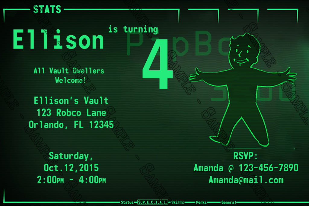 Novel Concept Designs - Fallout 4 - Pipboy Birthday Party Invitations