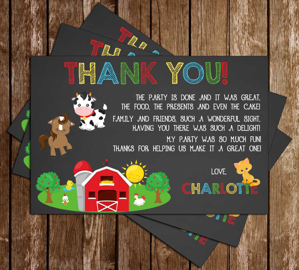 Farm Animals - Oink-Moo-Cock-a-Doodle-Doo - Birthday - Thank You Card