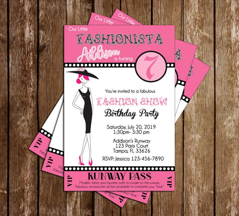 Fashion Runway Ticket - 4x6 - Dress Up - Birthday Party - Invitation