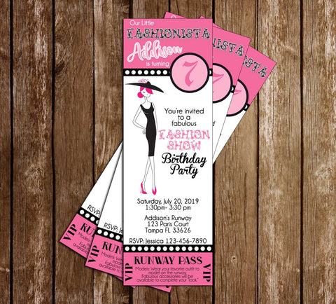 Fashion Runway Ticket - Dress Up - Birthday Party - Invitation
