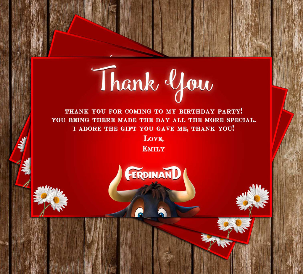 Ferdinand - The Movie - Birthday Party - Thank You Card