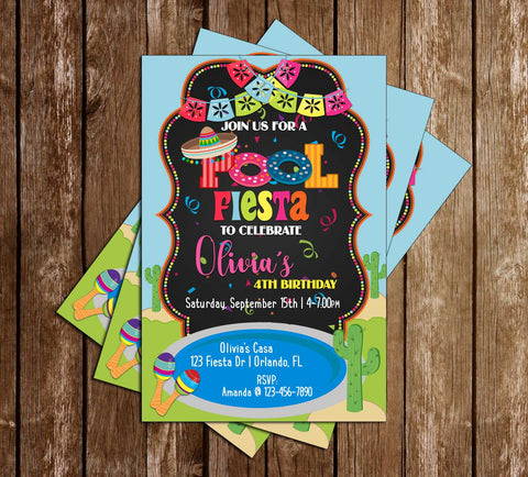 Fiesta Pool Party - Birthday Party - Invitation