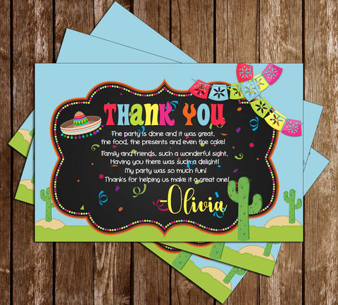 Fiesta - Pool Party - Birthday Party - Thank You Card