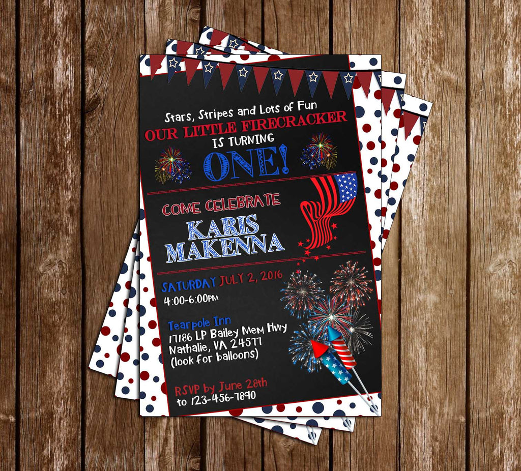 Novel Concept Designs - Little Firecracker - Fourth of July - Birthday Party Invitation