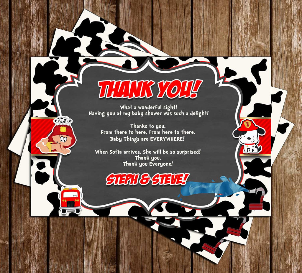 Little Firefighter - Baby Shower - Party - Thank You Card