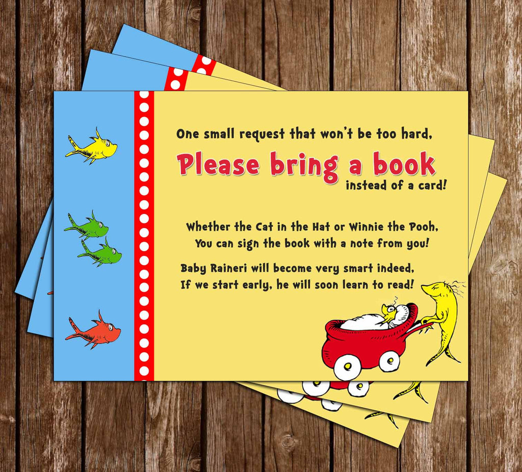 "One Fish, Two Fish, New Fish - Dr Suess - ""Bring a Book"" Baby Shower Invitation Insert"