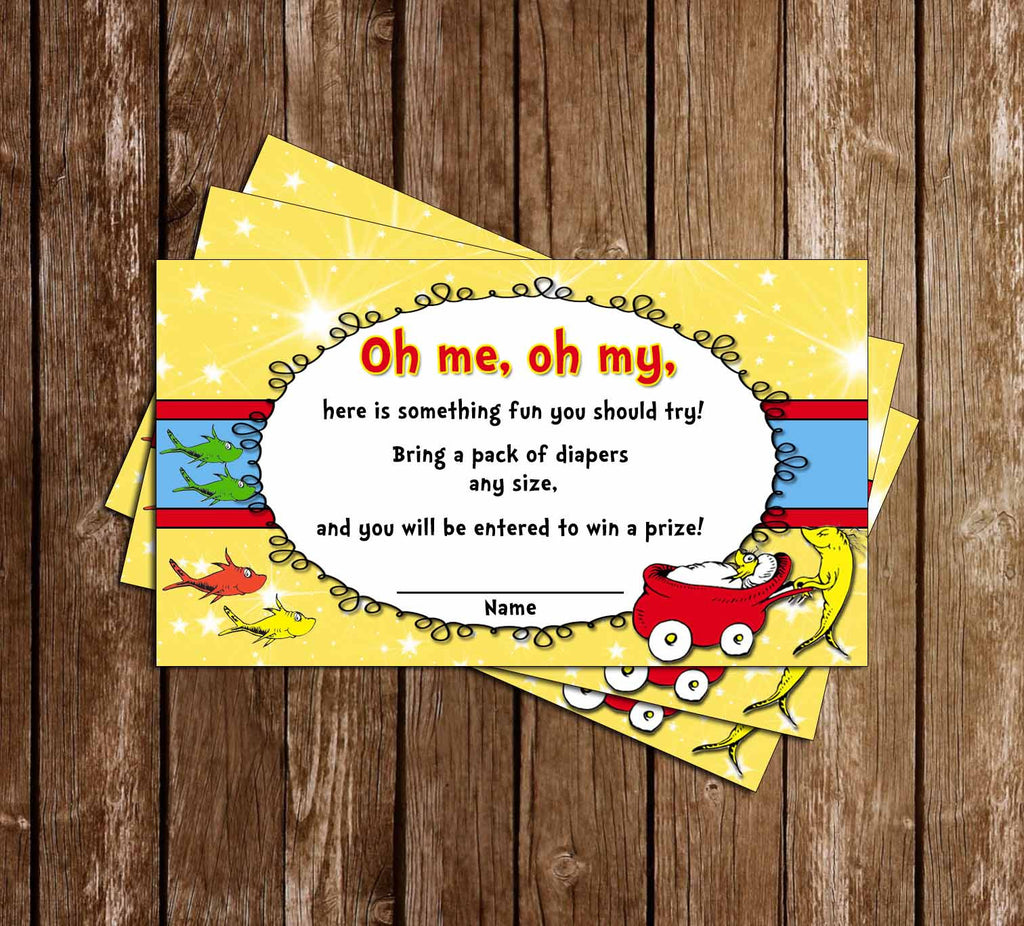 One Fish - Two Fish - New Fish - Baby Shower - Diaper Raffle Ticket