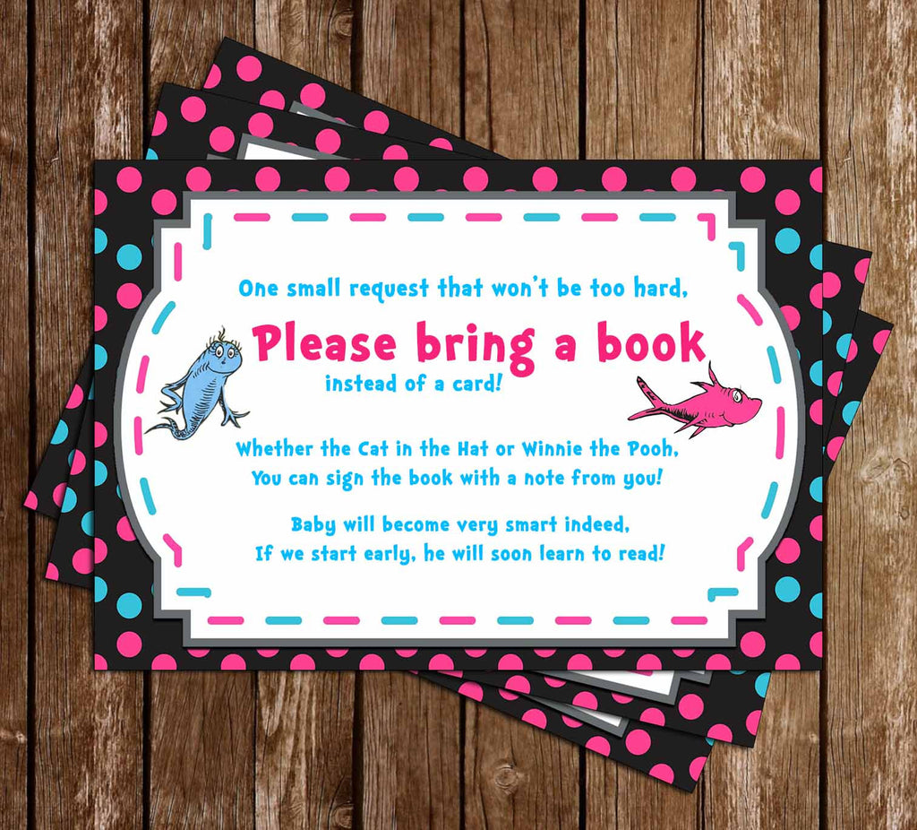 Dr Seuss - One Fish, Two Fish - Gender Reveal - Baby Shower - Book Insert