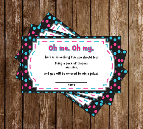Dr Seuss - One Fish, Two Fish - Gender Reveal - Baby Shower - Diaper Raffle Ticket
