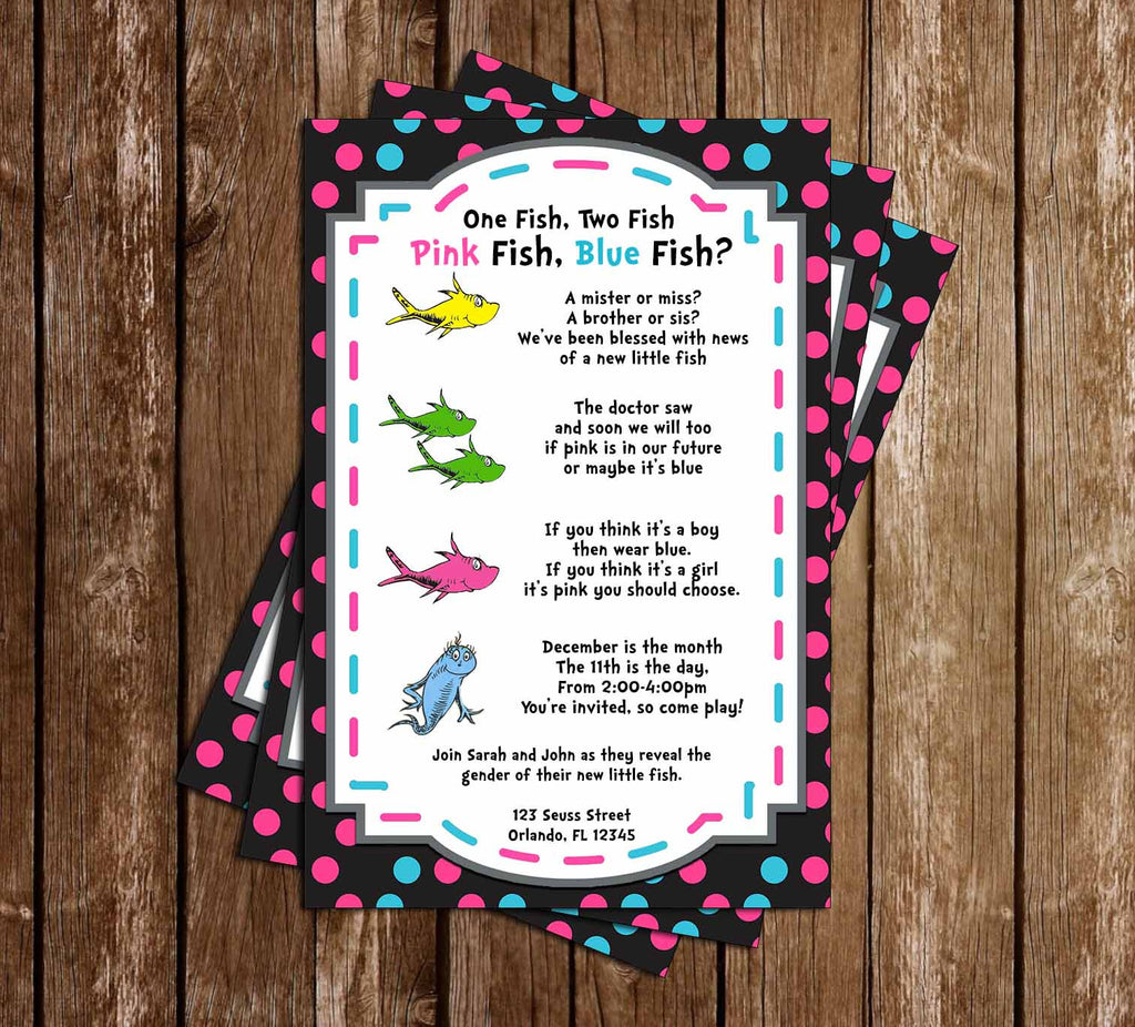 One Fish, Two Fish - Gender Reveal - Baby Shower - Invitation