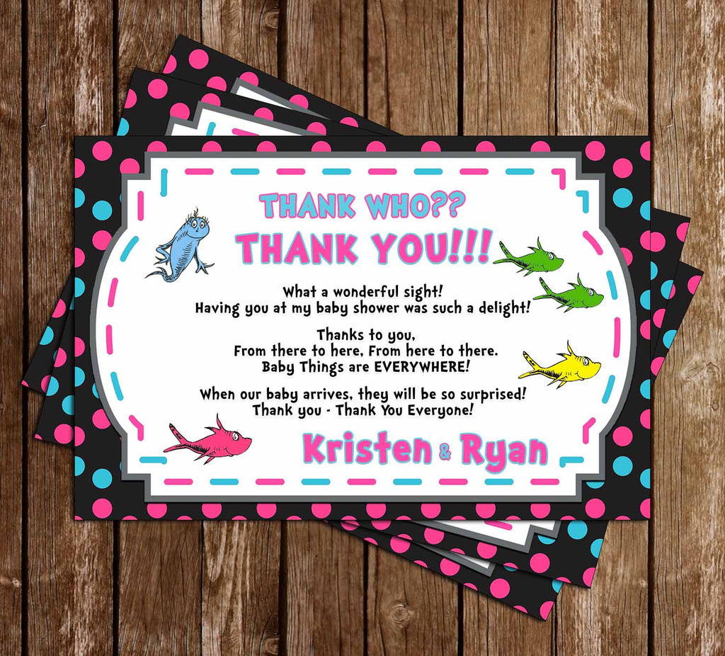 One Fish, Two Fish - Gender Reveal - Baby Shower - Thank You Card