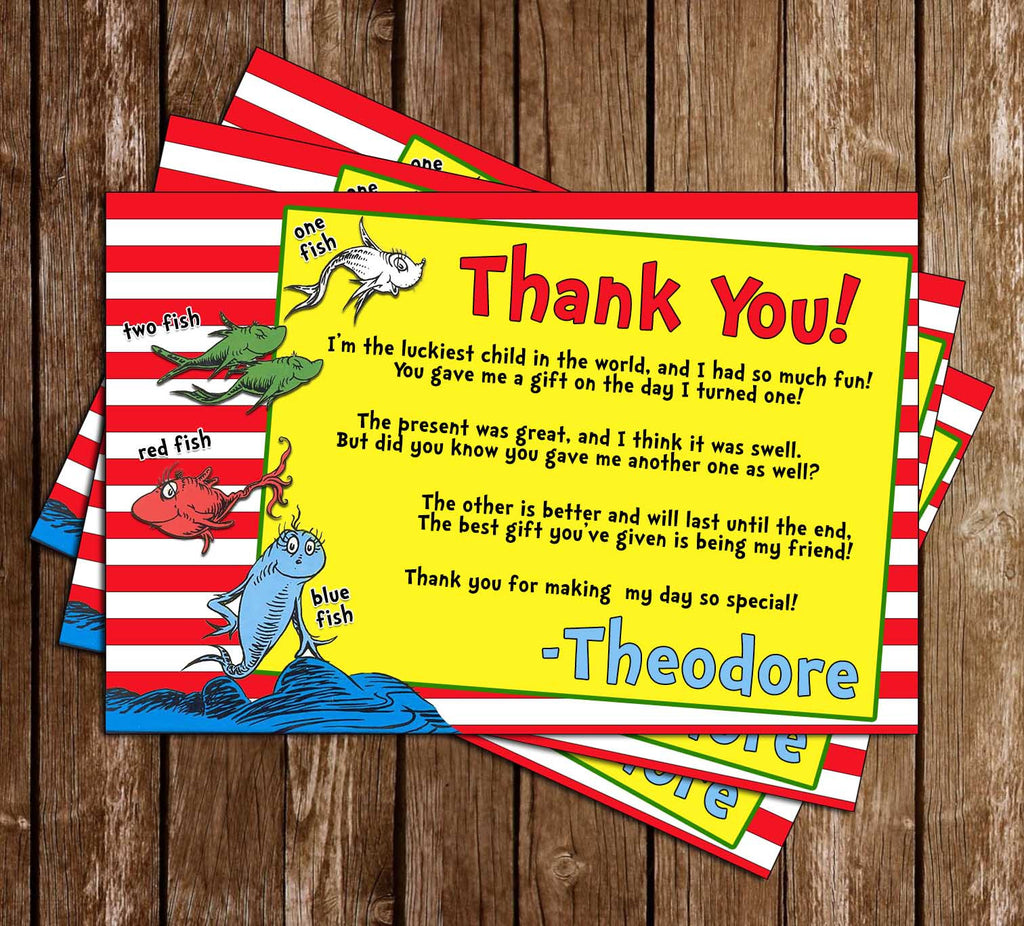 Dr Seuss - One Fish - Two Fish - Blue Fish - Birthday - Thank You Card