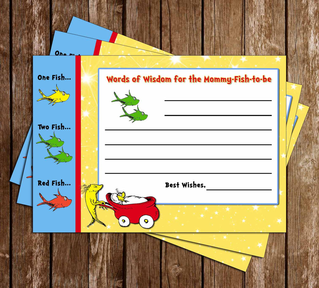 Dr Seuss - One Fish - Two Fish - New Fish - Baby Shower - Words of Wisdom Card