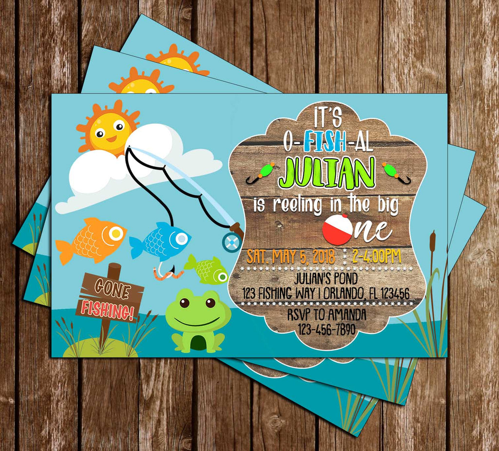 Novel Concept Designs Reel Big One Fishing Birthday Party Thank You Card