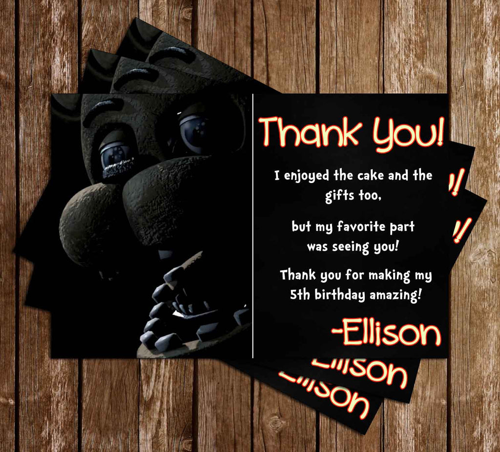 Five Nights at Freddy's Video Game Birthday Thank You Card