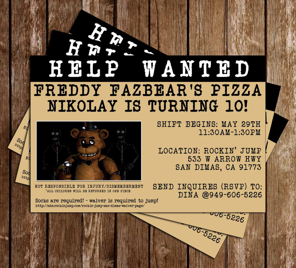 Five Nights at Freddy's Video Game Birthday Party Invitation