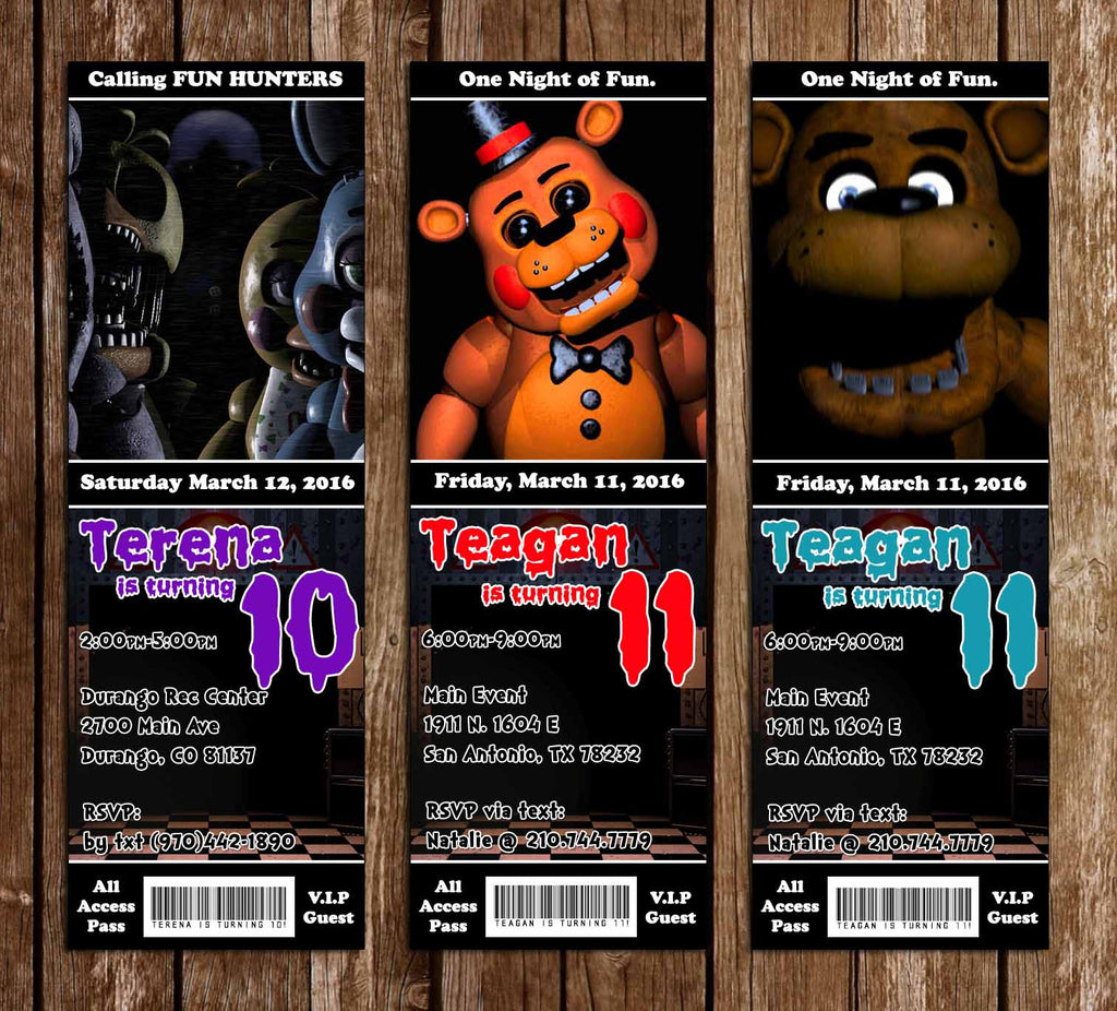 Five Nights At Freddys Video Game Birthday Party Ticket Invitation Enlarge Image