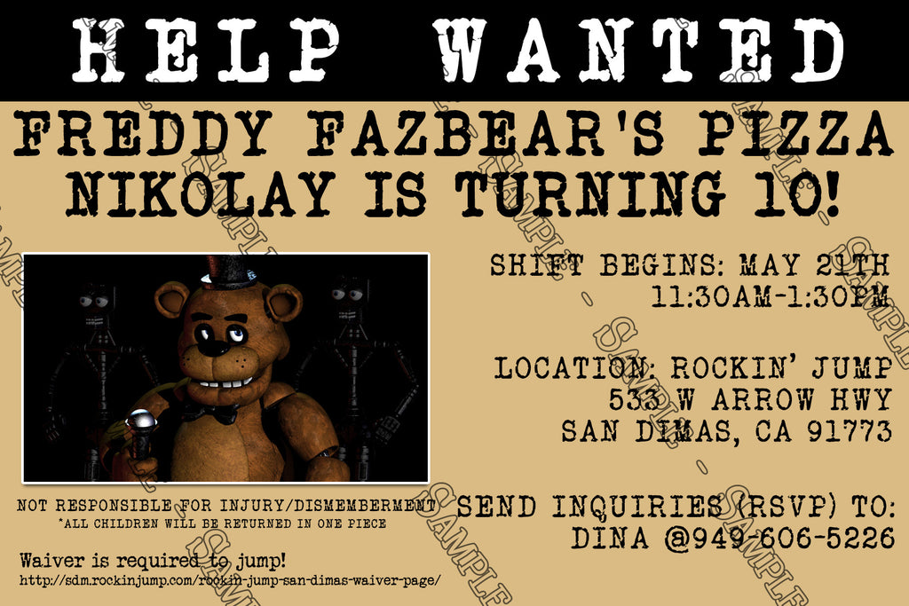 Novel concept designs five nights at freddys video game five nights at freddys video game birthday party invitation stopboris Image collections